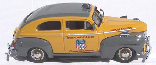 Die-cast 1:43 scale 1941 Ford UP Railroad Police Car with Cheyenne markings