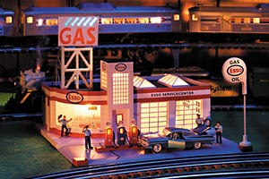 Esso Gas Station on Toy Train Cars
