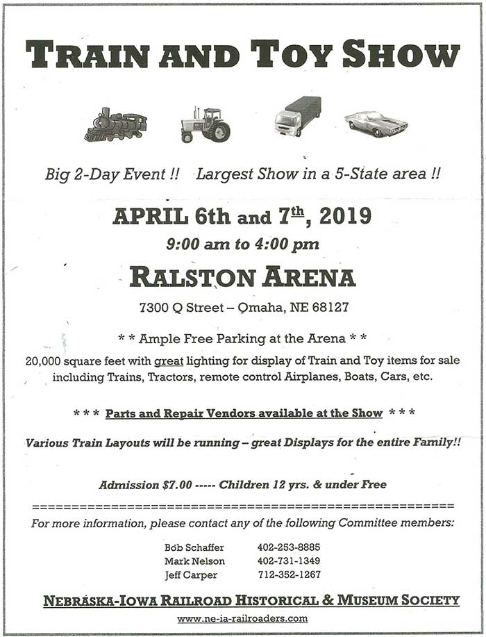 April 6 & 7, 2019, Omaha, NE, LCCA attends Train and Toy Show